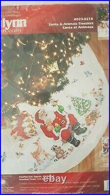 Janlynn Cross stitch kit Santa & Animals Christmas Tree Skirt 45 023-0218
