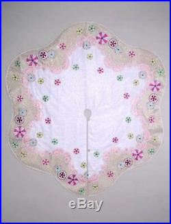 Katherine's Collection Sweet Christmas Tree Skirt Shabby Cottage Chic Pink