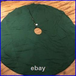 LARGE Wisteria Forest Green Tree Skirt Gold & Satin Appliqué 56 Diameter