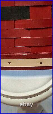 Longaberger 2015 Santa Belly Tree Skirt with Woodcrafts Black Lid, Christmas