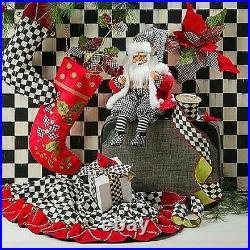 MacKenzie-Childs Courtly Check Jingle Bell Tree Skirt Christmas Brand New