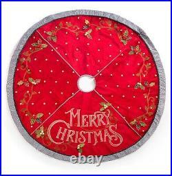MacKenzie-Childs MERRY CHRISTMAS Tree Skirt NEW 60dia