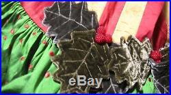 Mackenzie Childs NWT Christmas Tree Skirt Velvet Holly Dots Berries Silk SALE