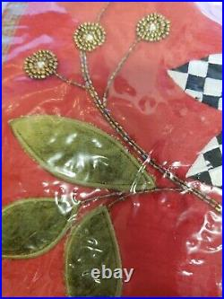 Mackenzie Childs Trailing Holly Red Check Beaded Christmas Tree Skirt. NEW