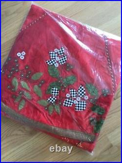 Mackenzie childs Christmas tree skirt trailing holly red new