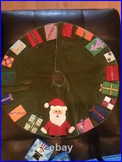 Michael Simon Miniature Christmas Velvet Beaded Tree Skirt Super Rare