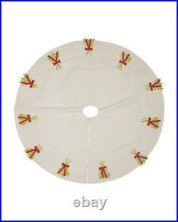 NEW Arcadia Home 58 Handmade Christmas Tree Skirt Mistletoe Sprigs Linen $380