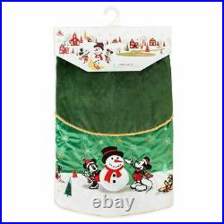NEW Disney Mickey Mouse and Friends Green Velour 54 Christmas Tree Skirt