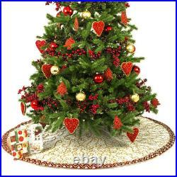NEW Infingo The Joy of The Season Xmas Tree Skirt Cream/Red