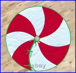 NEW Peppermint Swirl Christmas Tree Skirt NWT Red & White Candy Cane Fleece
