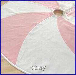 NEW Pink & White Peppermint Candy Swirl Fleece Christmas Tree Skirt NWT Handmade