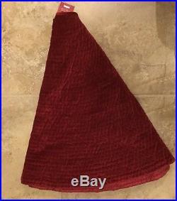 NEW Pottery Barn Channel Quilted Velvet LARGE Tree Skirt RUBY
