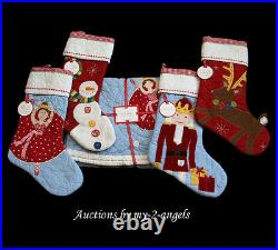 NEW Pottery Barn Kids Christmas Quilted Tree Skirt+4 Stockings Set NO NAME/MONO