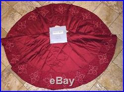 NWT $695 Kim Seybert Neiman Marcus Red Beaded Crystal Christmas Tree Skirt 62