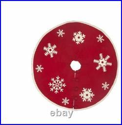 NWT ARCADIA HOME 100% Wool 60 Red Ivory Snow Snowflake Christmas Tree Skirt