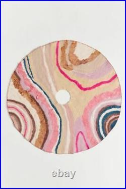 NWT Anthropologie Jenara Wool Tree Skirt 60 Pink Mod Christmas Holiday