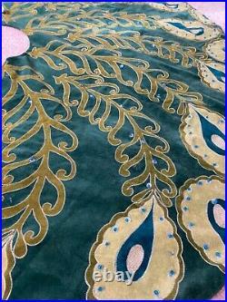 NWT Anthropologie Velvet Peacock Beaded Embroidered Christmas Tree Skirt 60