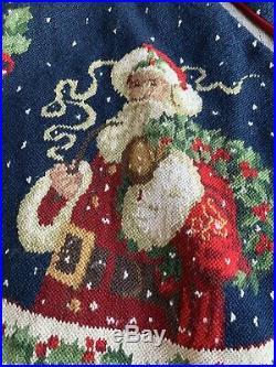 Needlepoint Christmas Tree Skirt Santa Claus Wreath 50D Aubusson Style Tapestry