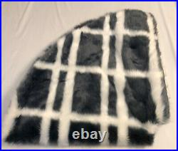 New Anthropologie Patterned Faux Fur Tree Skirt Checkered