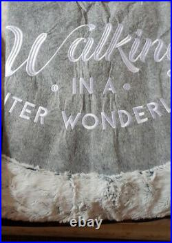 New Christmas Faux Fur Trim Tree Skirt Grey Colour