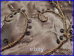 New Mackenzie-childs Jeweled Thistle Bead Christmas Table Cloth Throw Tree Skirt