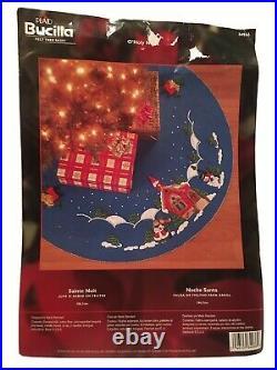 New Open Bucilla 42 Round Felt Christmas Tree Skirt Kit O'Holy Night 84966