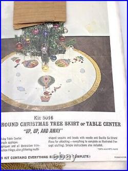 New Vintage Bucilla 45 Christmas Tree Skirt Up Up & Away Santa Hot Air Balloon