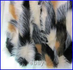 Nicole Miller Luxury Silky Faux Fur Christmas Tree Skirt Black Tan Cream 52
