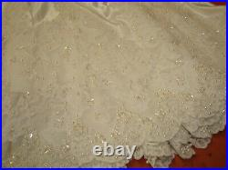 OOAK CHRISTMAS TREE SKIRT 72 ELEGANT Satin Beads & LACE Ruffled WEDDING White