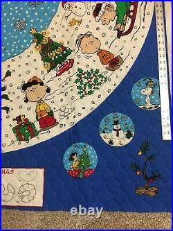 PEANUTS Christmas Tree Skirt CHARLIE BROWN Quilted fabric Panel Blue