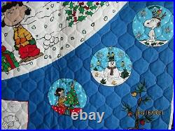PEANUTS Christmas Tree Skirt CHARLIE BROWN Quilted fabric Panel TABLE TOPPER