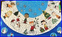 Peanuts A Charlie Brown Christmas Tree Skirt Tablecloth 2 Panels Sewing SNOOPY