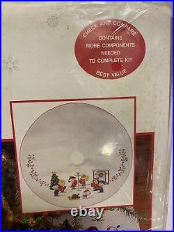 Peanuts Sing Along Cross Stitch Christmas Tree Skirt Kit Snoopy Holidays OOP New