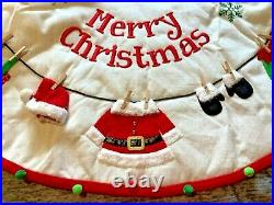 Pier 1 Imports 48 Santa Claus Elf Clothesline Outfit Christmas Tree Skirt NWT