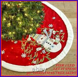 Pier 1 Imports 50 LED Light-Up Snowman Red Christmas Tree Skirt LET IT SNOW NWT