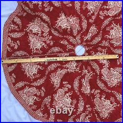 Pierre Deux French Country Red Toile de Jouy Christmas Tree Skirt Hand Made