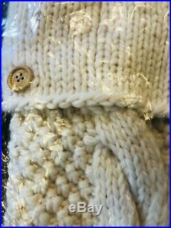 Pottery Barn Christmas 2 STOCKING Chunky Cable Knit Tree Skirt Set 3 Ivory Decor