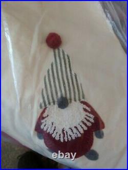 Pottery Barn GNOME CREWEL Embroidered ChristmasTree Skirt Pom Poms NWT