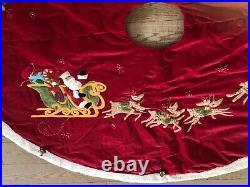 Pottery Barn Kids Christmas Tree Skirt Red Velvet Sherpa Santa & Reindeer Bells