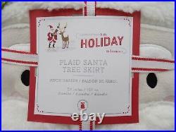 Pottery Barn Kids Plaid Santa Claus Applique Christmas Tree Skirt 54 Red #9923M
