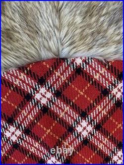 Pottery Barn Nottingham Tartan Red Plaid Fur Trimmed Tree Skirt Christmas Decor