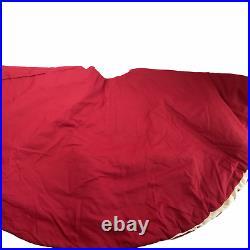Pottery Barn Velvet Tree Skirt, Red / Ivory White 60 Inch Button Closure, Used