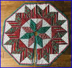 Quilted Christmas Tree Skirt Star Hand & Machine Made Multicolor Patchwork 54
