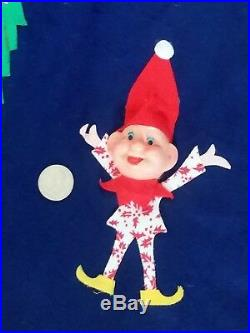 RARE Blue Vintage 1960's 50's Felt Pixie Elf Elves Christmas Tree Skirt Xmas