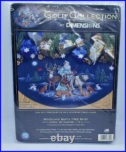 RARE! Dimensions Gold WOODLAND SANTA 45 Christmas Tree Skirt Cross Stitch Kit