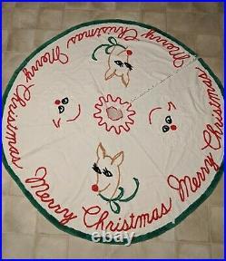 RARE Vintage Rudolph Red Nosed Reindeer Santa Chenille Merry Xmas Tree Skirt 68