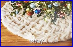 Rachel Zoe 52 Plush Faux Fur Pinched Christmas Tree Skirt Three Ties in Back