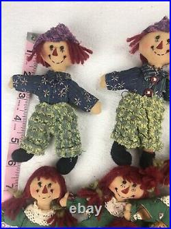 Raggedy Ann/Andy Christmas Tree Decorations. Tree Skirt, Top & 31 Ornaments