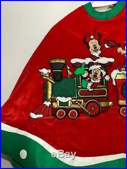 Rare Disney Parks SANTA MICKEY N FRIENDS ON Choo -CHOo TRAIN 48 Tree Skirt Xmas