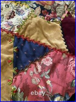 Rare House of Hatten Christmas Tree Skirt Velvet Wool Patchwork Embroidery 54